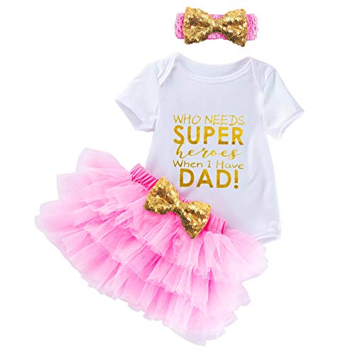 HappyDoggy Child Baby Girls Fathers Day Outfits - Romper Pink Tutu Skirt Baby Shower Gifts