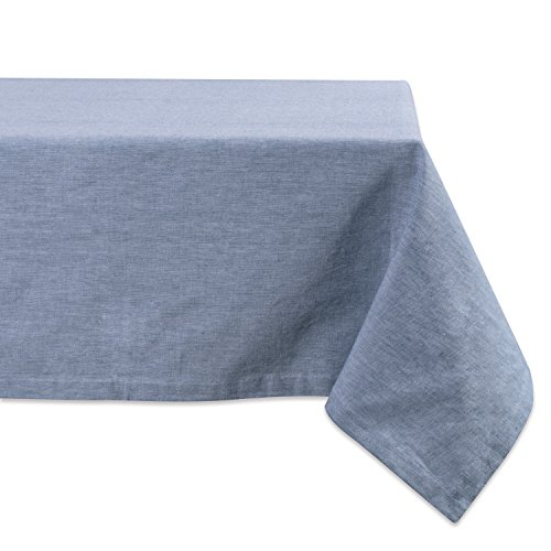 - DII CAMZ36966 100% Cotton, Machine Washable, Everyday Kitchen Tablecloth for Dinner Parties, Summer & Outdoor Picnics-60x84 Seats 6 to 8 People, Chambray, 60x84, Blue
