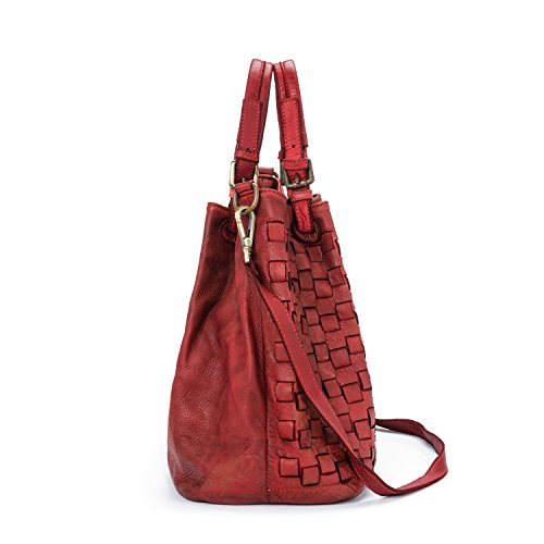 Vintage Italy Moutarde Bordeaux main cuir Model femme Ira Vrai in Caraibica Made del Valle Sac à qwwOR8A