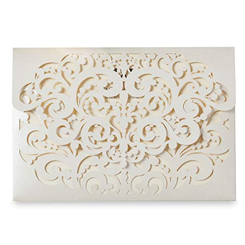 (WISHMADE 1PCS Ivory Laser Cut Flower Wedding Invitation Card with Tri-fold Heart Shape Card for Engagement Quincenera Birthday Party, Sample)