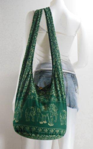 Green Forest Hippie Hobo Boho Elephant Sling Cotton Crossbody Shoulder Messenger Bag Purse EA36