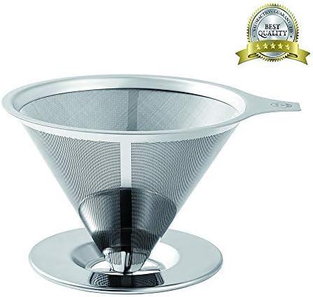 Filtro de café de acero inoxidable – sin papel, para cafetera o cafetera – filtro de cono de café reutilizable: Amazon.es: Hogar