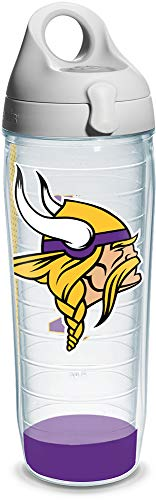 (Tervis NFL Minnesota Vikings Wrap Individual Water Bottle with Gray Lid, 24 oz,)