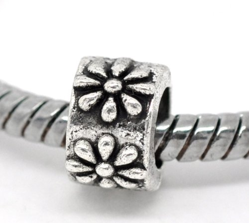 Large Flower Spacer - PEPPERLONELY 50pc Antique Silver Flower Carved Pattern Spacer Beads Tube Large Hole Fits E.