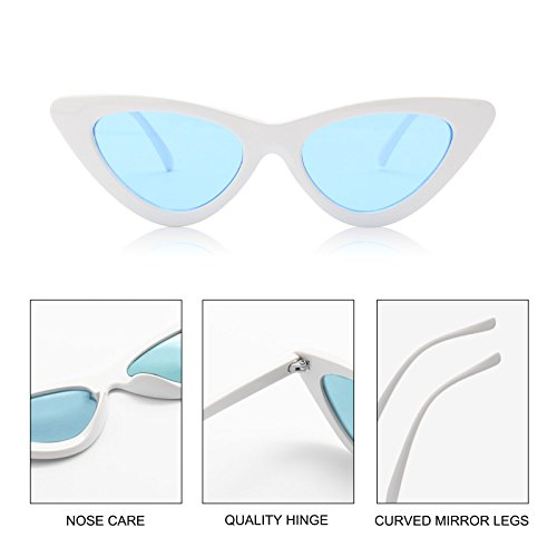 Livhò Retro Vintage Narrow Cat Eye Sunglasses for Women Clout Goggles Plastic Frame White Blue