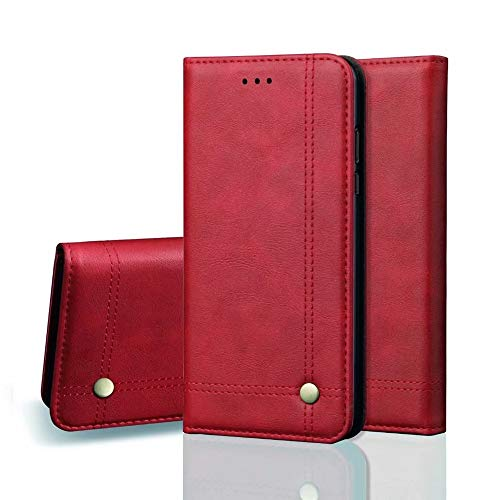 XHD-Mobile Phone Cases Flip Folio Wallet PU Leather Magnetic Protective Case Cover with Card Slots, Stand Holder for Samsung Galaxy J7 2018 (Color : Red) (Xhd Card)