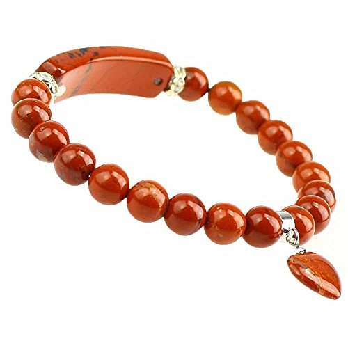 Handmade Gemstone Heart Pendant Stretch Bracelet 8mm Beads (Flame Jasper)