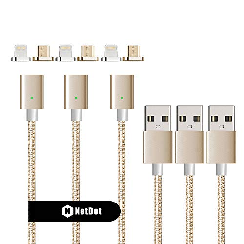 NetDot 3rd Generation USB2.0 Magnetic Charging Cable Adapter with 1 iOS Connector and 1 Micro-USB Connector Compatible with Both Android Smartphone and iPhone - 3.3 Feet / 3 Pack Gold