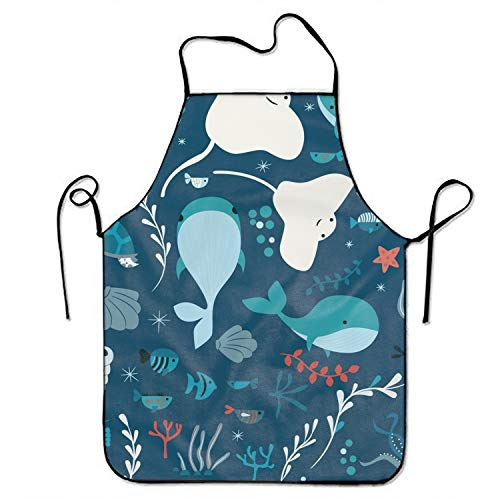Underwater Ocean Animals Bib Apron Adult Unisex Durable Comfortable Washable for Cooking Baking Kitchen -