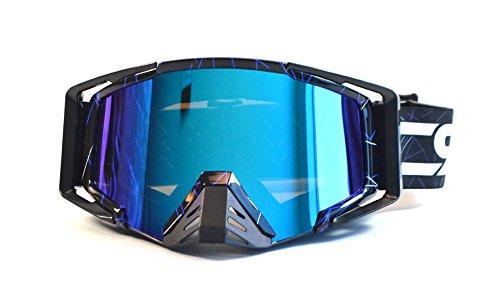 CRG Motocross ATV Dirt Bike Off Road Racing Goggles Adult T815-105 Series (Black w/Blue Strips)
