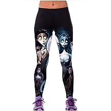 ManorGirl Halloween Cartoon Designed Print Workout Capri Leggings Stretch Tights
