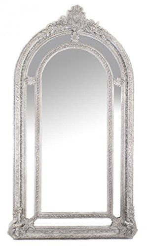 Riesiger Casa Padrino Luxus Barock Wandspiegel Antik-Silber Versailles 210 x 115 cm - Massiv und Schwer - Silberner Spiegel