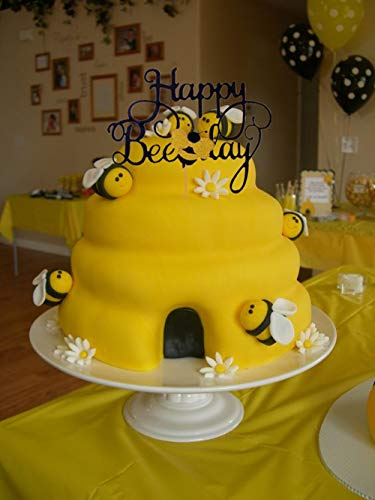 Enjoyable Laventy Bumble Bee Cake Topper Happy Bee Day Cake Topper Bee Cake Funny Birthday Cards Online Inifofree Goldxyz