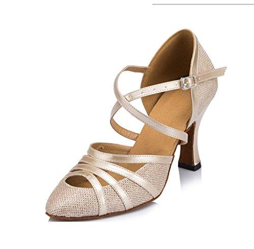 Meijili Women's Closed Toe Criss Cross Strap High Heel PU Leather Glitter Salsa Tango Ballroom Latin Party Dance Shoes Champagne 0aU4B