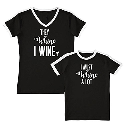 We Match!! - They Whine I Wine/I Must Wine A Lot - Matching Women's Soccer Ringer T-Shirt & Kids T-Shirt Set (YTH Small, Women's Small, Black, White Print) Christian Womens Ringer T-shirt