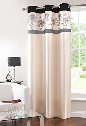 (GYROHOME Fully Lined Faux Silk Blackout Curtain Thermal Insulated Room Darkening Engery Saving Drape Noise Reducing No Formaldehyde for Living Room Bedroom 1 Panel (Mono, W54xL84))