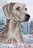 "Weimaraner by Tamara Burnett Winter Berries Garden Dog Breed Flag 28"" x 40"" For Sale"