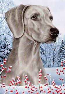 Weimaraner by Tamara Burnett Winter Berries Garden Dog Breed Flag 28'' x 40''
