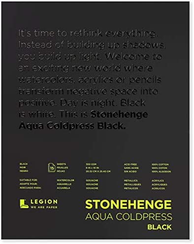 Stonehenge, 1 Legion Aqua Watercolor Pad, 140lb, Cold Press, 8 by 10 Inches, Black Paper, 15 Sheets
