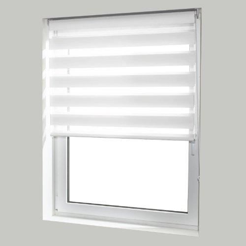casa pura® Doppelrollo Day & Night mit Doppelfunktion - tageslichtdurchlässig und verdunkelnd - in 8 Größen   Weiß   60x150cm