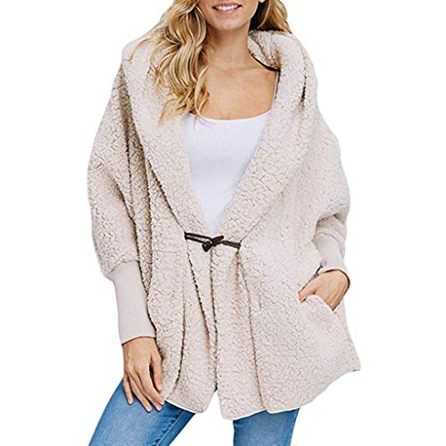 Sanyyanlsy Winter Fashion Open Front Warm Cardigan Fashion Plush Button Hoodie Coat Top with Pocket for Women Daily Wear White