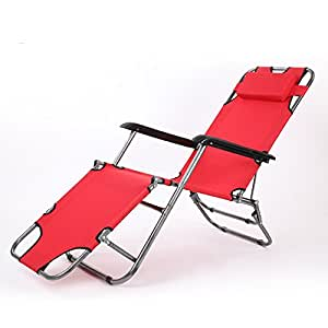 Lunch break deck chair / office nap bed / folding bed lounge chair / care bed ventilation widened tube ( Color : Red )
