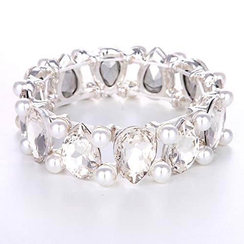 Youfir Bridal Pearl and Crystal Teardrop Knot Elastic Stretch Bracelet for Brides Wedding Party(White)