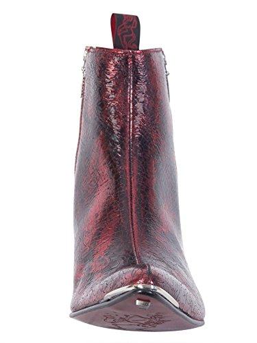 Jeffery Westerse Mannen Metaal Lederen Zip Laarzen Te Breken, Rood Rood