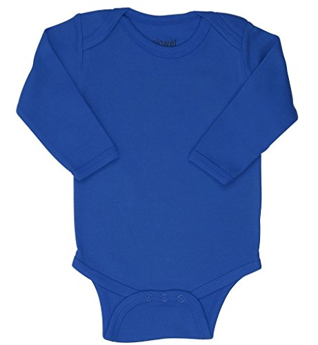 Elowel Long Sleeve Baby Bodysuit 100% Cotton Dark Blue (Size3-6M)