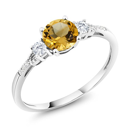 Gem Stone King 10K White Gold Diamond Accent Three-stone Engagement Ring set with Yellow Citrine White Created Sapphire 0.85 cttw (Size ()