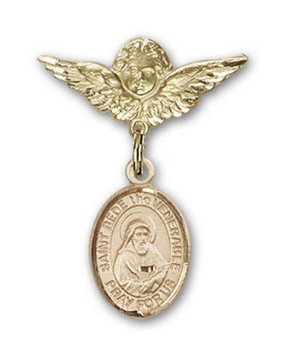 Icecarats Or Bijoux De Créateurs Rempli R. Bède Le Vénérable Broches Badge Charme D'Ange 1 X 3/4