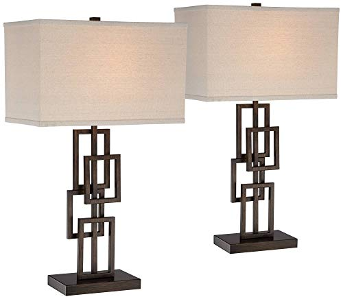 Kory Modern Table Lamps Set of 2 Dark Bronze Metal Geometric Base Rectangular Shade for Living Room Family Bedroom Office - 360 ()