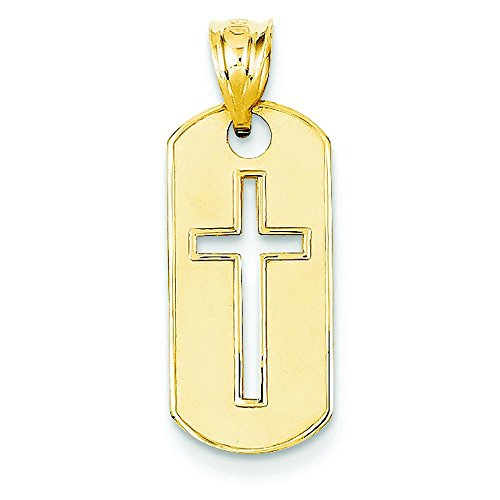 (14K Gold Polished Cross Cut-Out Pendant Charm Jewelry 25 x 10 mm)