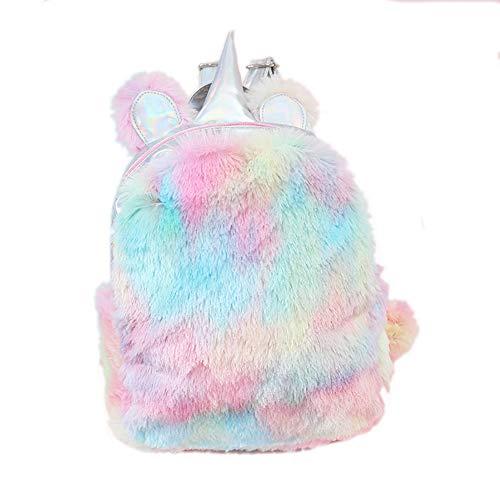 (Starte Cute Plush Unicorn Backpack,Soft Rainbow Backbag Sweet Girls Daughter Gifts,Lightweight Travel School Mini Backpack for Women,Colors)