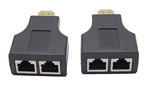 CERRXIAN HDMI Dual RJ45 CAT5E CAT6 UTP LAN Ethernet HDMI Extender Repeater 1080P HDTV HDPC PS3 STB(2-Pack)