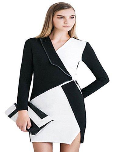 PU&PU Robe Aux femmes Gaine Sexy / Simple,Couleur Pleine Col en V Au dessus du genou Polyester , black-l , black-l