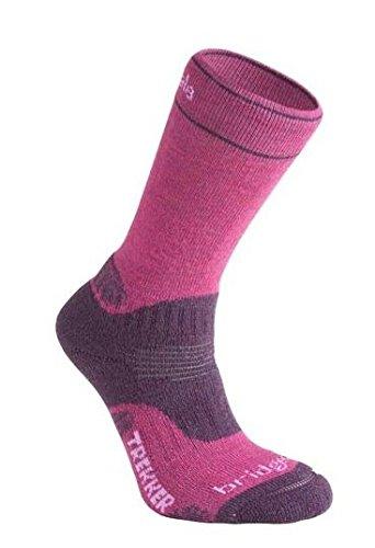 Bridgedale Wool Fusion Trekker CuPED Womens Walking Socks Medium Berry Plum