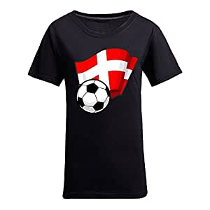 Custom Womens Cotton Short Sleeve Round Neck T-shirt with Flags,2014 Brazil FIFA World Cup Soccer Flags