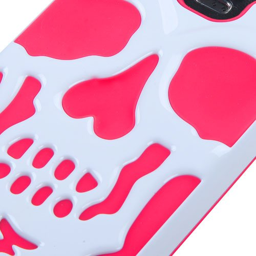 Kaleidio [Mybat Skullcap] Dual Layer Shock Proof Hybrid Case Cover for Samsung Galaxy Note IV 4 [Package Includes a Overbrawn Prying Tool & Stylux Stylus/Pen Dust Plug Combo] - Retail Packaging [White/Pink]