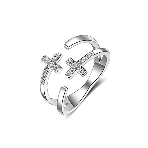 NEOWOO Double Sideway Cross Ring Faith Sterling Silver Crystals Diamond CZ Cubic Zirconia S925 Free (Stand United Cutlery)