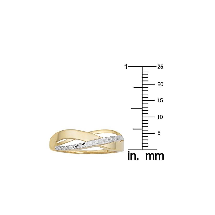 Kooljewelry 14k Two Tone Gold Diamond Cut and High Polish Highway Ring
