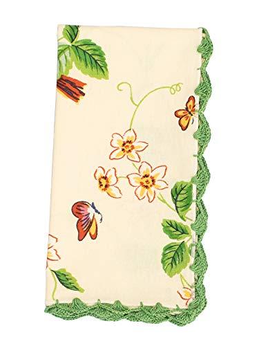 (April Cornell Cream Strawberry Fields Crochet Trim 100% Cotton Napkin Set of)