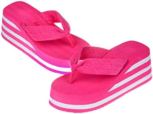Bettyhome Donna Lady Tacchi Alti Arcobaleno Confortevoli Infradito Sandali Casual Zeppe Da Spiaggia Infradito Pantofole Rosa