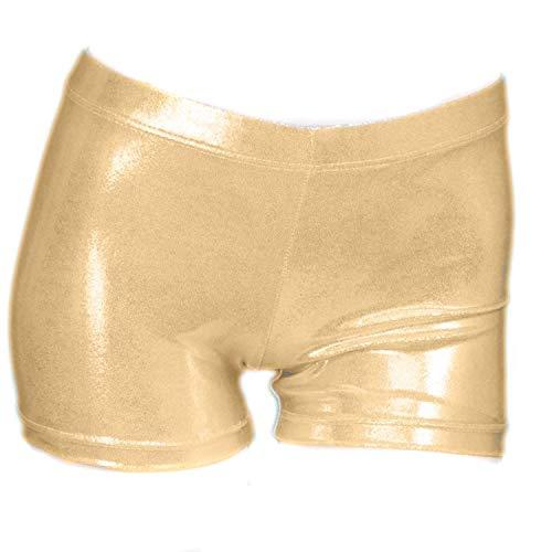 ZIZI Little Big Girls Sparkle Dance Tumbling Athletic Gymnastics Gold Short,130CM(8-10Years) (Girls Gold Sparkle)