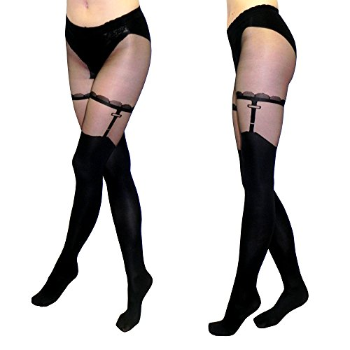 Suspender Style Pantyhose (Sexy Opaque Black Tights with Silky Sheer Top & Faux Garter Pattern, 'Mistero' Style, Size L)