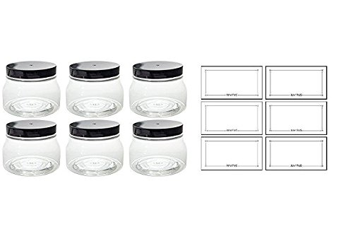 Clear PET Plastic (BPA Free) Tuscany Refillable Jar 8 oz / 240 ml - (6 pack) + Labels