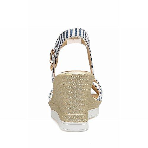 Plateausandalen Blau Keilabsatz Shoes Schnalle Chic Mee Damen Knöchelriemen q7Yn04va