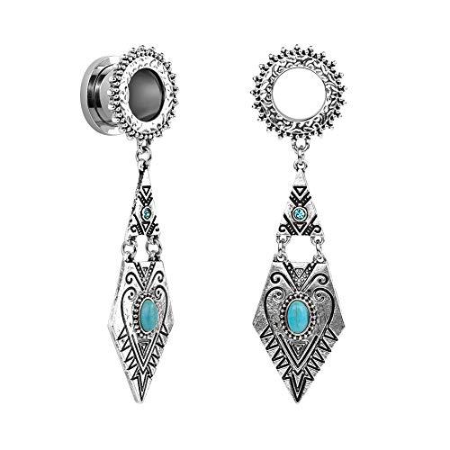 TBOSEN Women Vintage Retro Ethnic Drop Bohemian Turquoise Dangle Bridal Ear Plugs Stretchers Gauges Stretching Gauge 2g - 1-3/16 inch