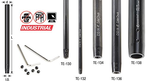 Amana Tool TE-136 CNC Narrow Reach Tool Holder Extension 1/2 Shank Dia x 1/4 Inner Dia x 6 Inches Long, Includes Allen Key