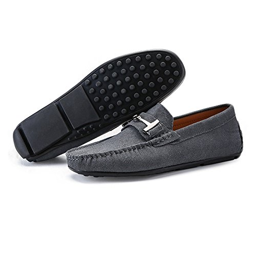 Men's Sole Genuine Penny with Loafers Shoes Moccasins Cricket Studs Metal Suede Button Gray Driving Decor Leather 8nH1nSr